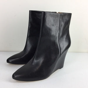 new Ann Taylor 8.5 Black Leather Wedge Booties